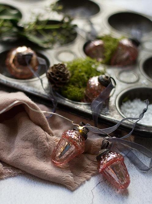 Rose Crackle Glass Acorn