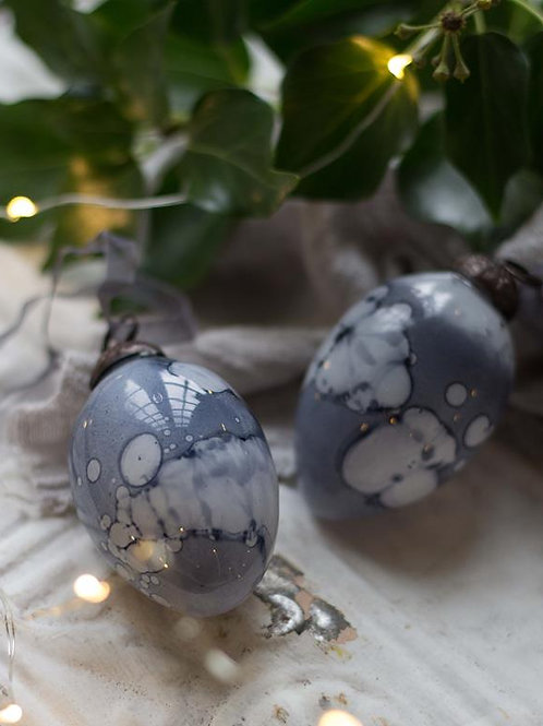 Grey Marbled Glass Egg Decoration
