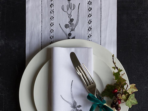 Upcycled stamped vintage table runner
