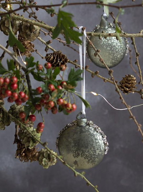 Sage green and diamante bauble for home decor