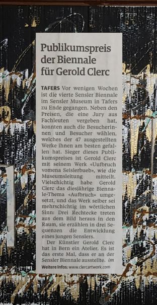 Freiburger Nachrichten Publikumspreis Sensler Biennale
