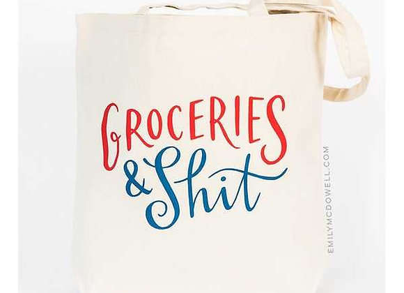 Groceries Canvas Tote  - white