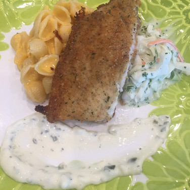 Fried Catfish Mac & Cheese Plus Slaw!