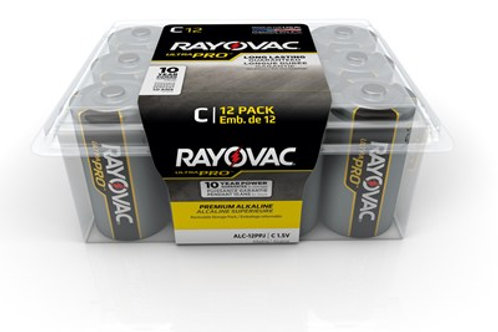 RAYOVAC Ultra Pro C Alkaline Batteries (Resealable, 12-Pack)