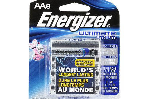 Energizer Ultimate L91-BP-8 AA 3000mAh 1.5V High Energy 5A Lithium (LiFeS2) Butt