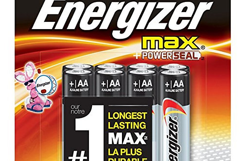 Energizer Max E91-FP-8 AA 1.5V Alkaline Button Top Batteries - 8 Piece
