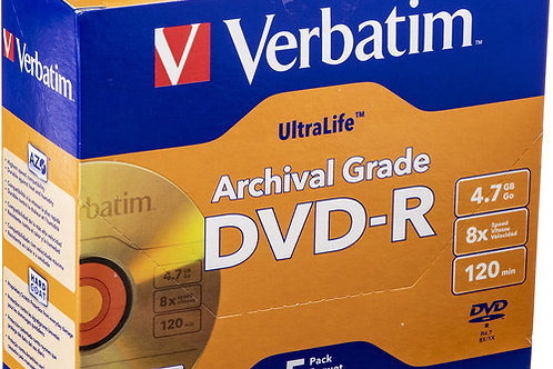 Verbatim DVD-R UltraLife Gold Archival Grade 4.7GB Recordable Disc (Pack of 5)