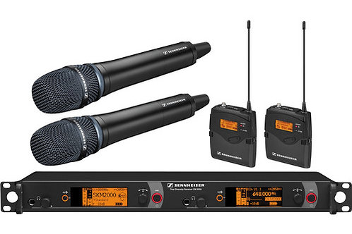 Sennheiser 2000 Series Dual Handheld and Dual Bodypack Transmitter Wireless Micr