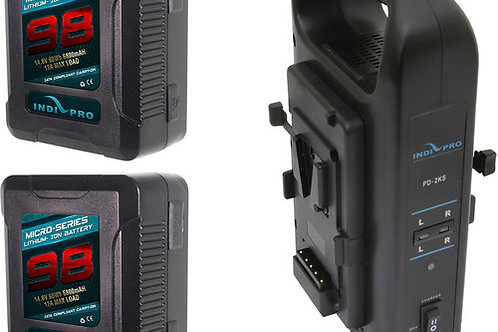 IndiPRO Tools 2 x Micro-Series 98Wh Li-Ion V-Mount Batteries with Dual V-Mount