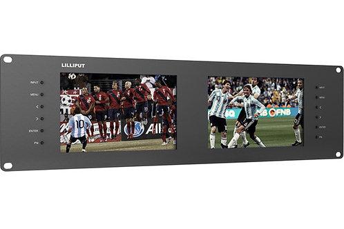 """Lilliput Dual 7"""" 3U 3G-SDI Monitor Rackmount"""