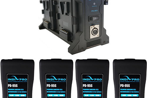 IndiPRO Tools Four Compact 95Wh V-Mount Li-Ion Batteries and Quad Pro V-Mount Kt