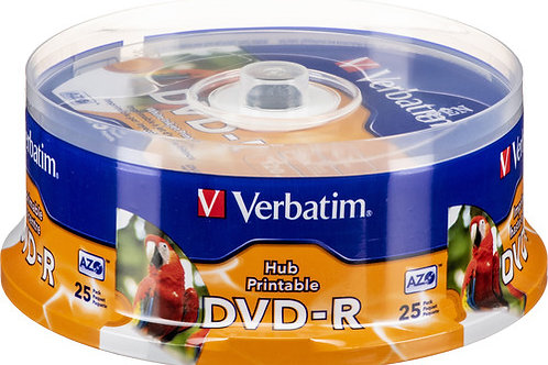 Verbatim DVD-R 4.7GB 16X White Inkjet Hub Printable Discs (25 Pack)