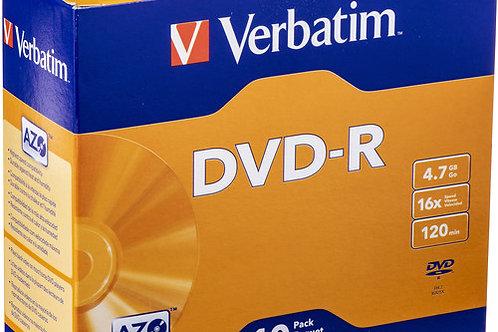 Verbatim DVD-R 4.7GB 16X Azo Surface with Slim Case (10 Pack)