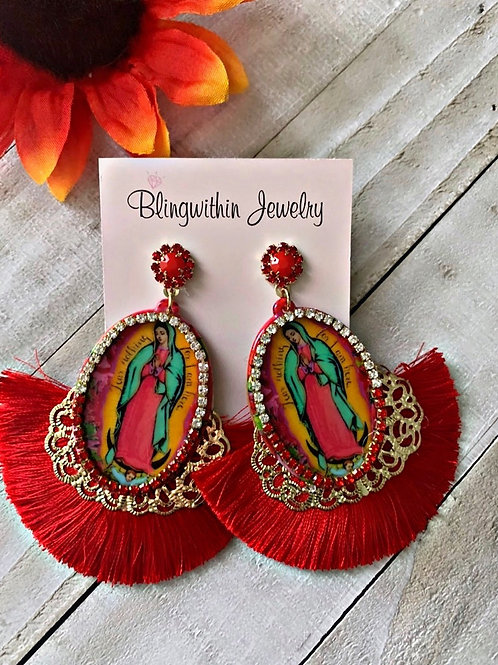 Adorable Lady of Guadalupe red tassels earrings
