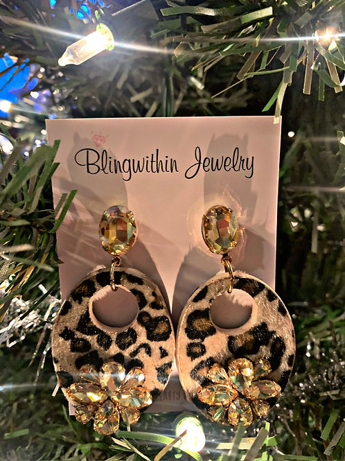 Fiercely Leopard print rhinestone earrings