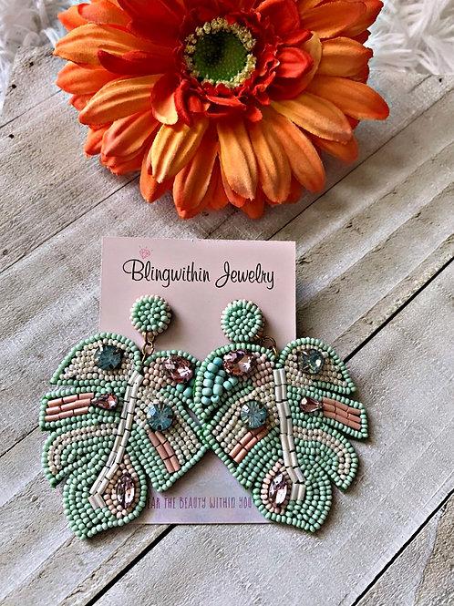 Easter Mint Leaf statement earrings