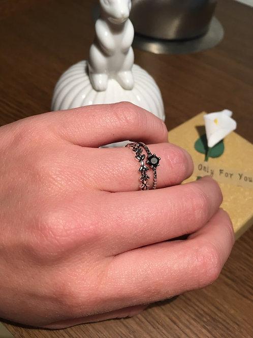 Black Leaf Double Layer Adjustable ring