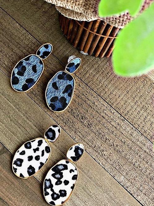 Leopard Fierce Earrings in Air force blue/grey