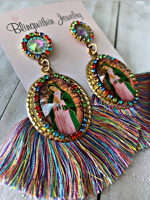 Multicolor Virgin Mary gorgeous tassels