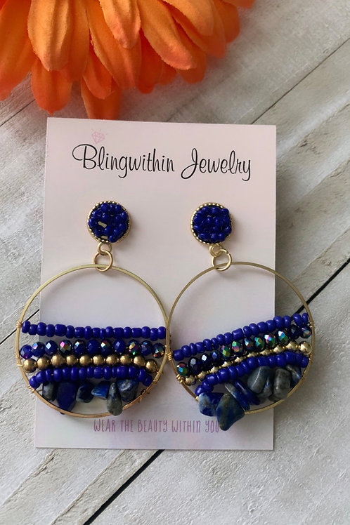 Rocks and beads gold hoops in blue
