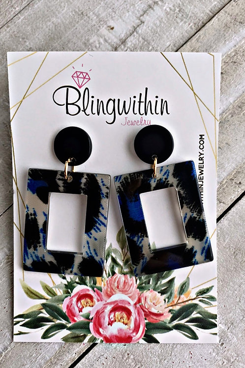 Wild Animal Print earrings in blue/black