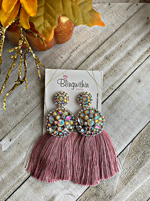 Glam Rhinestones and tassels in blush color