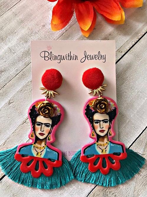 Frida Kahlo Love earrings in teal