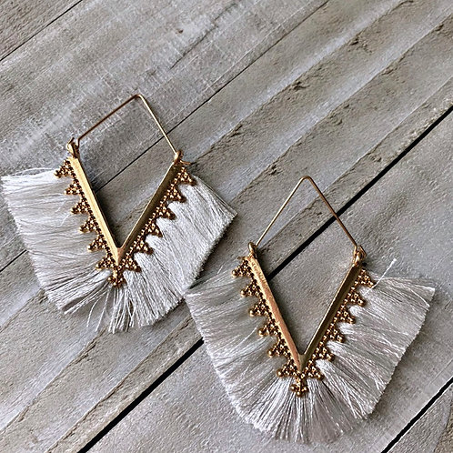 White triangle statement earrings