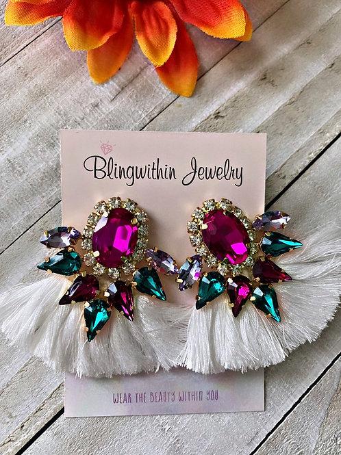 Gatsby colorful white tassels earrings