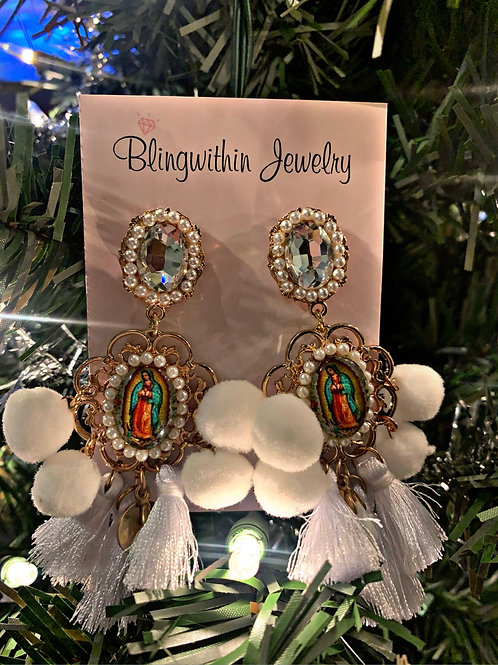 Gorgeous our Lady of Guadalupe pure white earrings