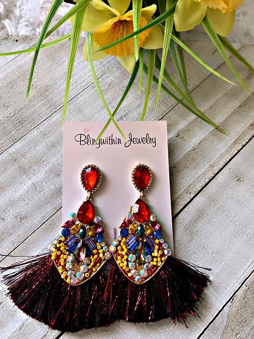 Peacock Spring darker multicolor tassels
