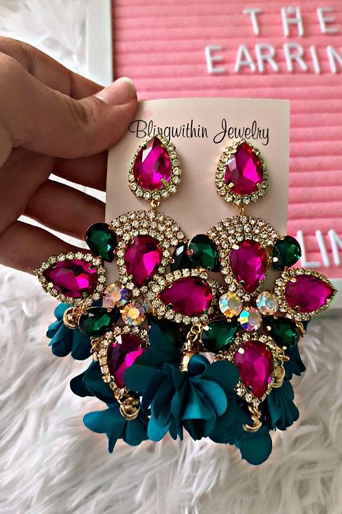Rhinestone glam drop flower earrings in colorful turquoise