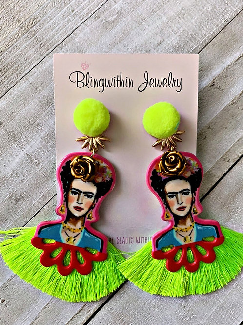 Frida Kahlo love earrings in neon yellow