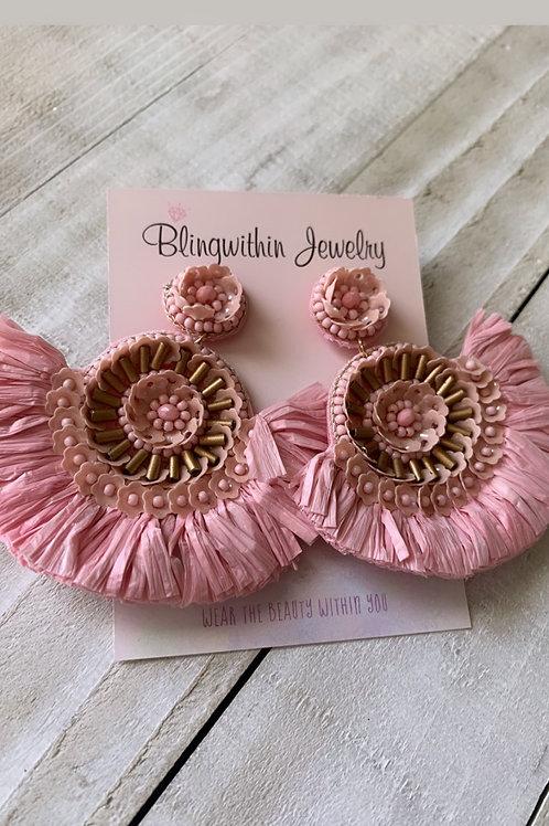 Fan blush earrings