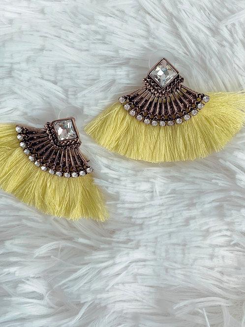 Teresa Vintage tassels in bright yellow