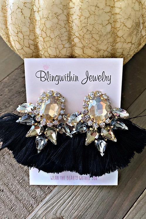 Gatsby gold black tassel earrings