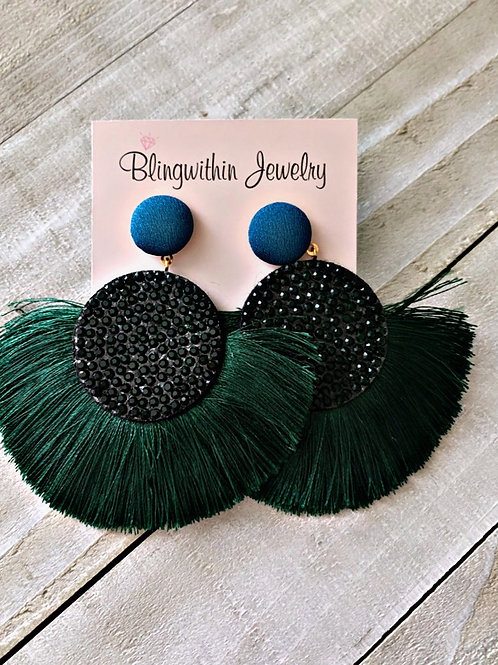 Sparkles and tassels in green