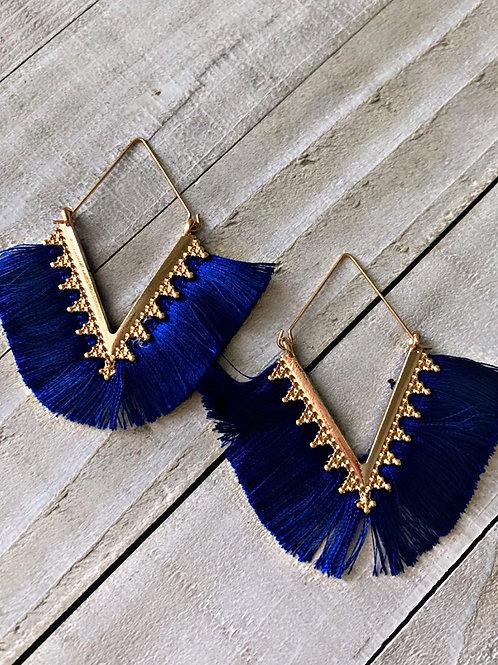 Blue triangle statement earrings