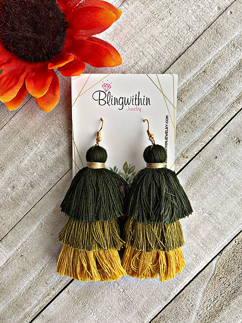 Autumn 3 layered tassels in olive/mustard