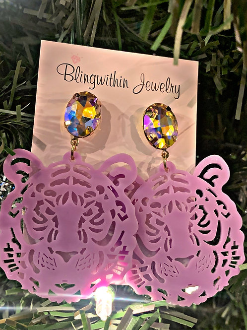 Tiger rhinestone statement earrings in lilac