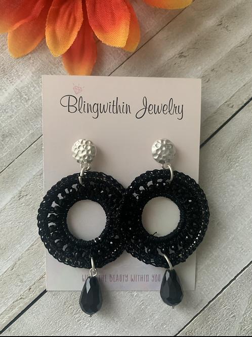 Ruby Drop Dangle earrings in black