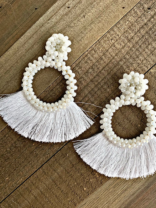 Bella Dangle tassels in Pure White