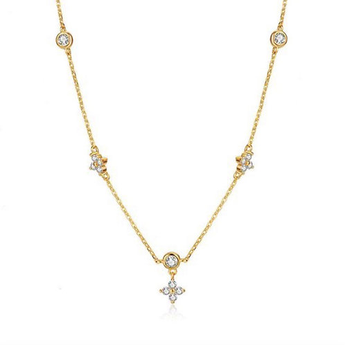 Flowers and Diamonds Necklace