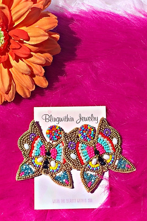 Fly high Mariposa beaded multicolor statement earrings