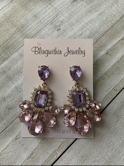 Lavender Rhinestone earrings
