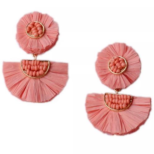 Stella Tiered Drop Earrings in Peach color
