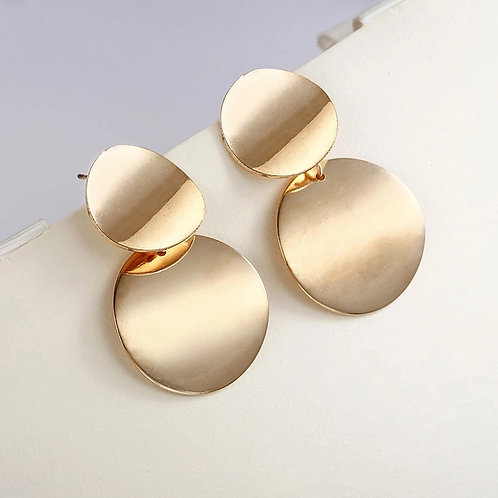 Gold round statement earrings