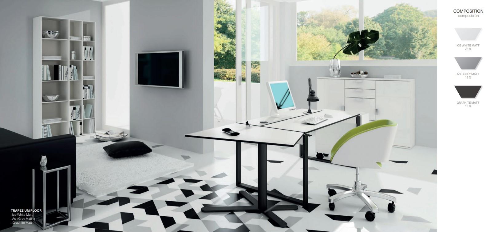 Floor Tiles Ice White, Graphite & Ash Grey Matte Trapezium