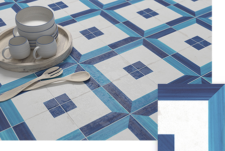 Blanc er Bleu square Decor