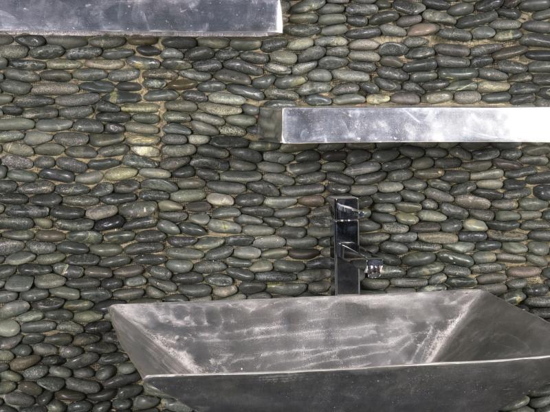 Wall Pebble, Stacked, Matte, Noir